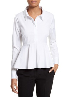 Milly Stretch Poplin Peplum Shirt