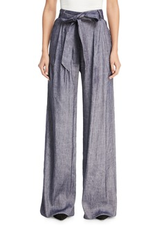 Milly Stretch Self-Tie Trapunto Pants