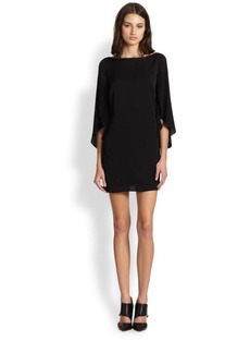 MILLY Stretch-Silk Butterfly Sleeve Dress
