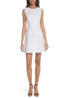 Milly Stripe Floral Burnout Cotton Blend Sheath Dress