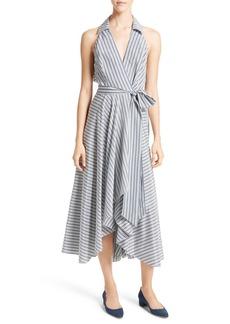 Milly Stripe Midi Wrap Dress