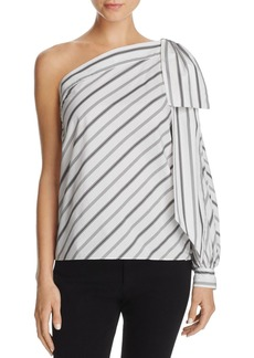 MILLY Stripe One-Shoulder Bow Top