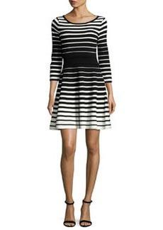 Milly Stripe-Print Flare Dress