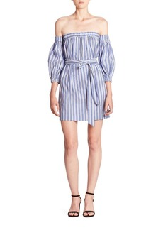 MILLY Striped Cotton & Silk Off-The-Shoulder Dress