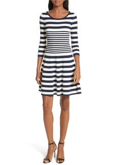 Milly Striped Ottoman Fit & Flare Dress