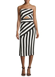 Milly Striped Strapless Cutout Dress