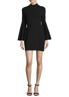 Milly Swing-Sleeve Mock-Neck Sheath Dress