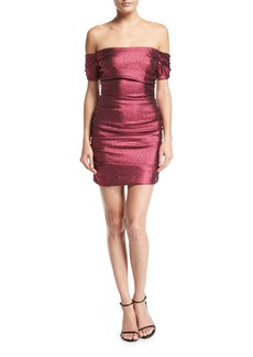 Milly Tessa Ruched Stretch-Lurex Cocktail Dress