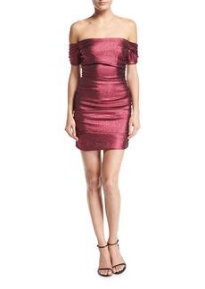 Milly Tessa Ruched Stretch-Lurex Cocktail Dress