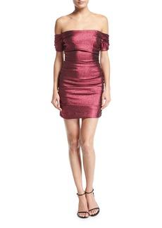 Tessa Ruched Stretch-Lurex Cocktail Dress