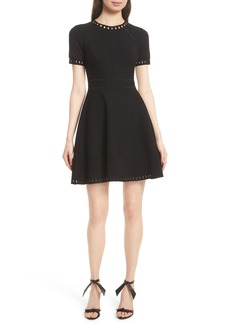 Milly Texture Knit Fit & Flare Dress