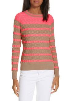 Milly Texture Stitch Stripe Sweater
