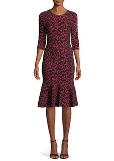 Milly Textured Leopard Animal-Print Mermaid Midi Dress