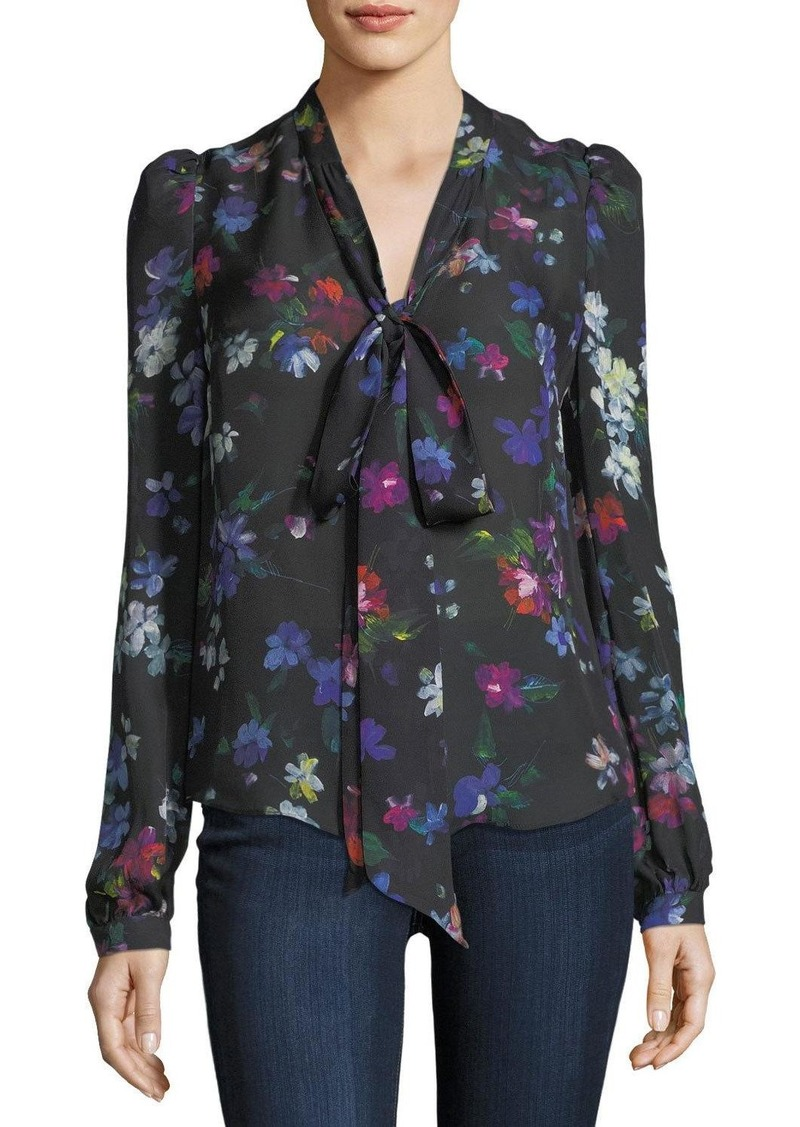 ea554536b3c Milly Milly Tie-Neck Painted Floral Georgette Silk Blouse