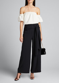 Milly Tie-Waist Washed Chalky Twill Wide-Leg Pants