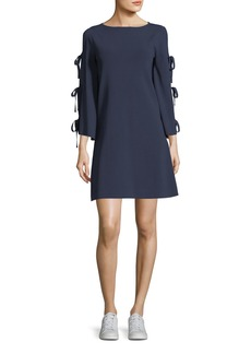 Milly Tied-Together Flare-Sleeve Dress