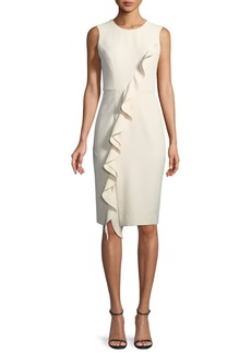 Milly Tilly Asymmetric Italian Cady Ruffle Dress
