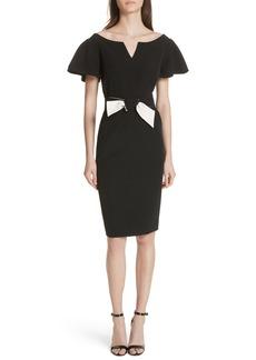 Milly Tina Belted Cady Sheath Dress
