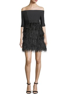 Milly Tina Off-the-Shoulder Tech Stretch Feather Cocktail Dress