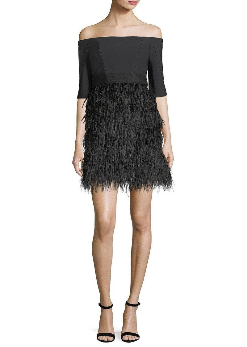 Milly Milly Tina Off-the-Shoulder Tech Stretch Feather Cocktail ...