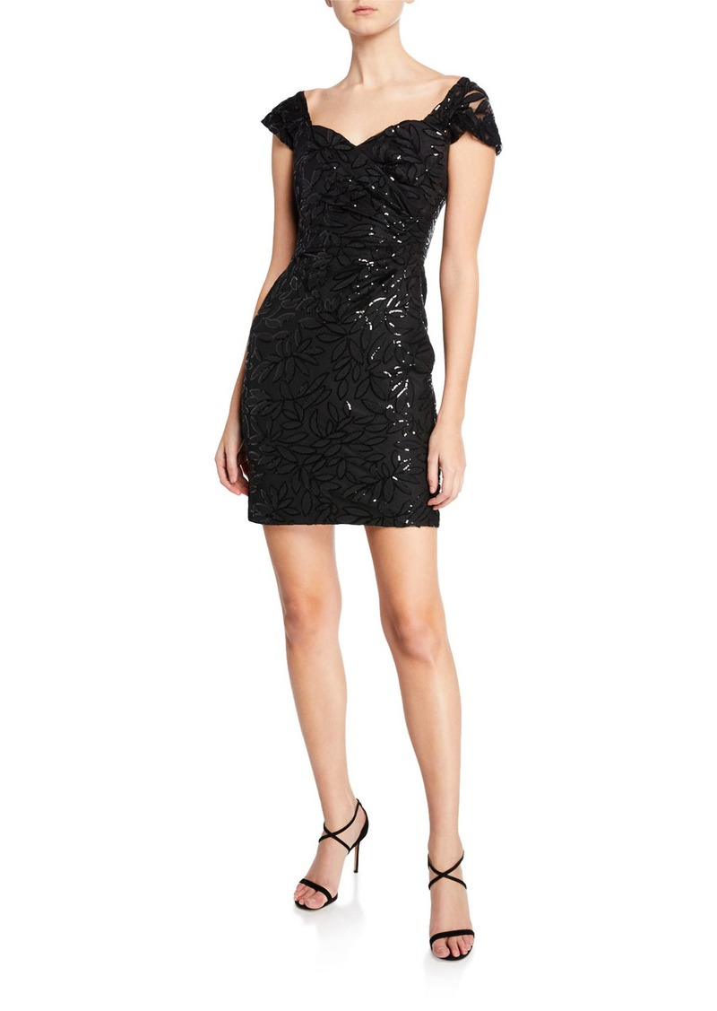 Milly Tina Sweetheart Cap-Sleeve Embroidered Sequin Dress