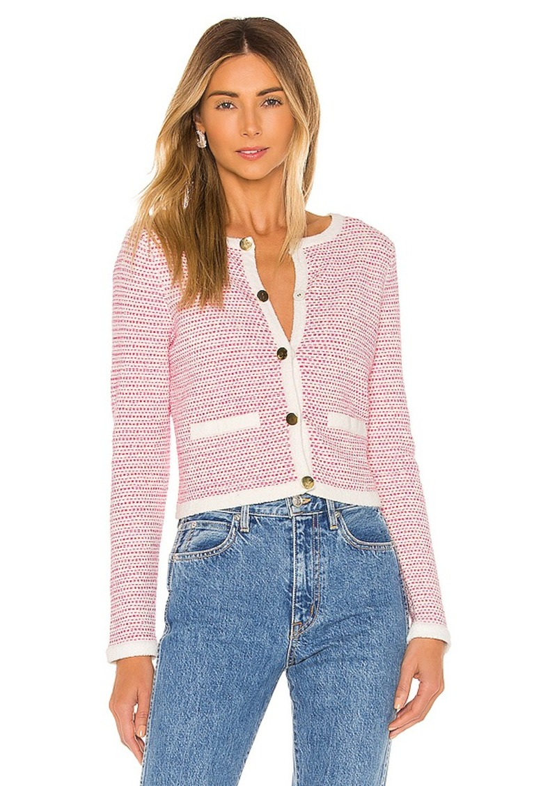 MILLY Tweed Knit Cropped Cardi