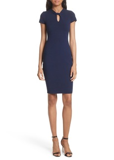 Milly Twist Neck Stretch Knit Sheath Dress
