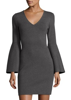 Milly V-Neck Bell-Sleeve Stretch-Knit Minidress