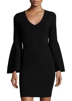 Milly V-Neck Bell-Sleeve Stretch-Knit Minidress