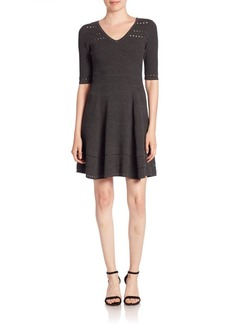 MILLY V-Neck Fit-And-Flare Dress