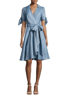 Milly Valerie Linen Chambray Wrap Dress