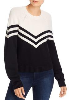 MILLY Varsity Chevron Wool Sweater
