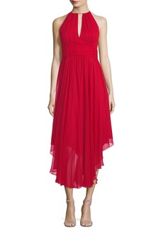 Milly Vena Silk Chiffon Keyhole Midi Cocktail Dress