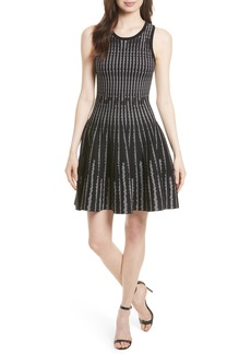 Milly Vertical Optic Fit & Flare Dress