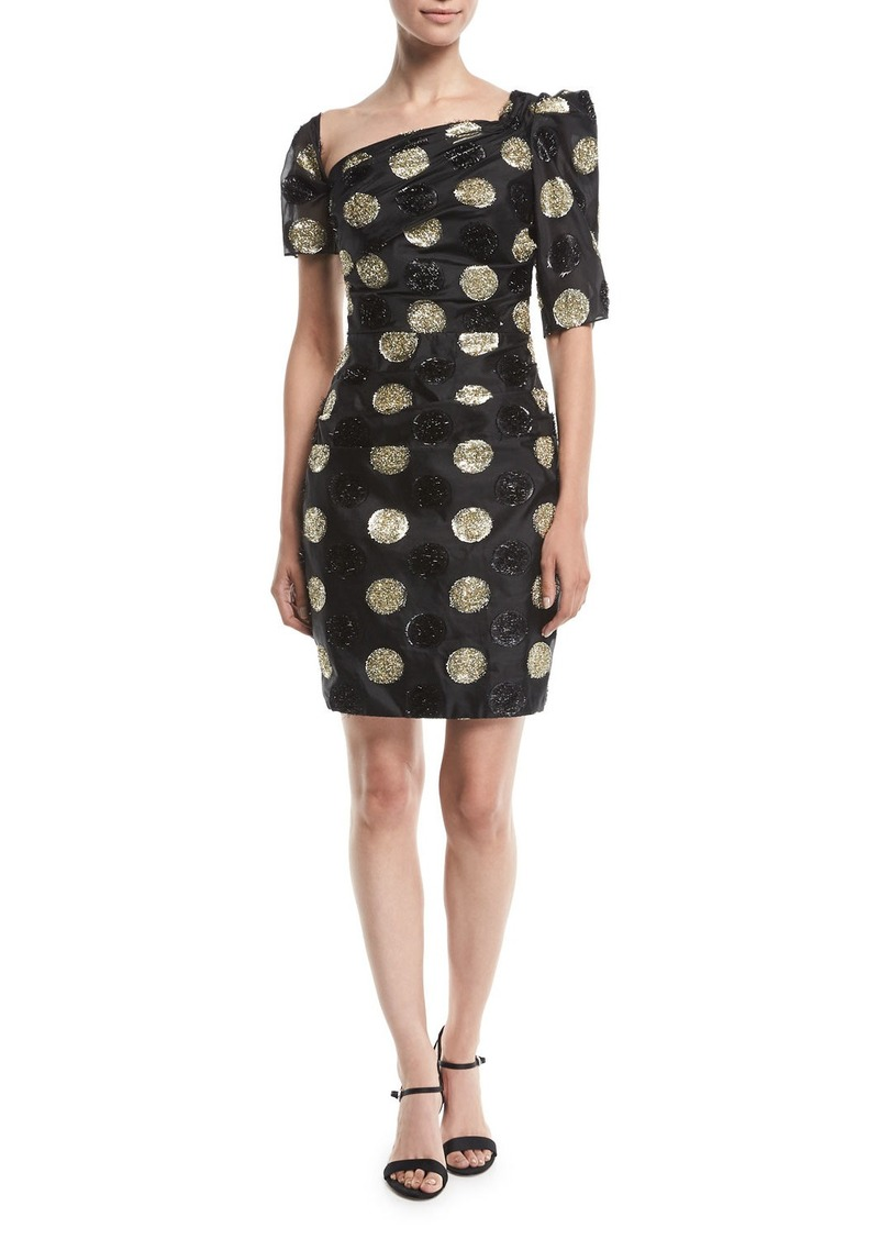 Milly Vivian Asymmetric Polka Dot Fil Coupe Dress