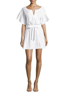 Milly Vivian Bell-Sleeve Stretch-Poplin Dress