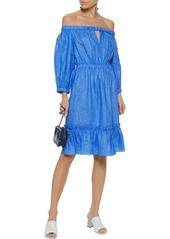 Milly Woman Amanda Off-the-shoulder Linen Dress Cobalt Blue