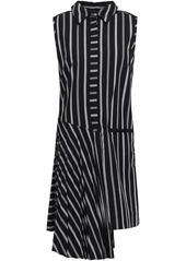 Milly Woman Andrea Asymmetric Striped Cotton-poplin Dress Black
