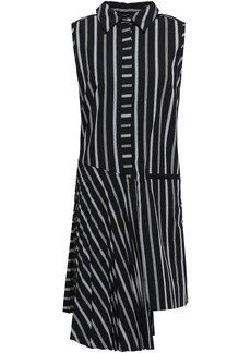 Milly Woman Andrea Asymmetric Striped Cotton-poplin Dress Black