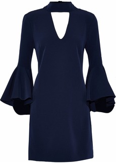 Milly Woman Andrea Fluted Cutout Cady Mini Dress Midnight Blue