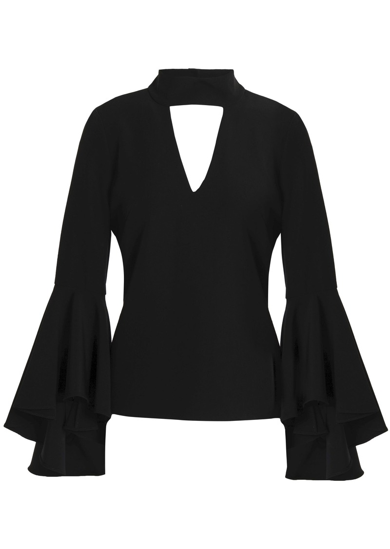 Milly Woman Andrea Fluted Cutout Stretch-cady Top Black