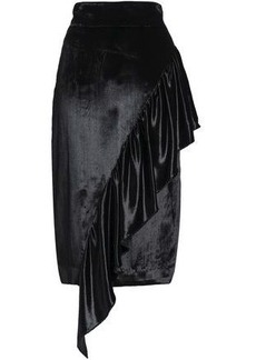 Milly Woman Angelina Asymmetric Ruffled Velvet Skirt Black