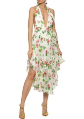Milly Woman Angie Floral-print Silk-chiffon Halterneck Dress Ivory