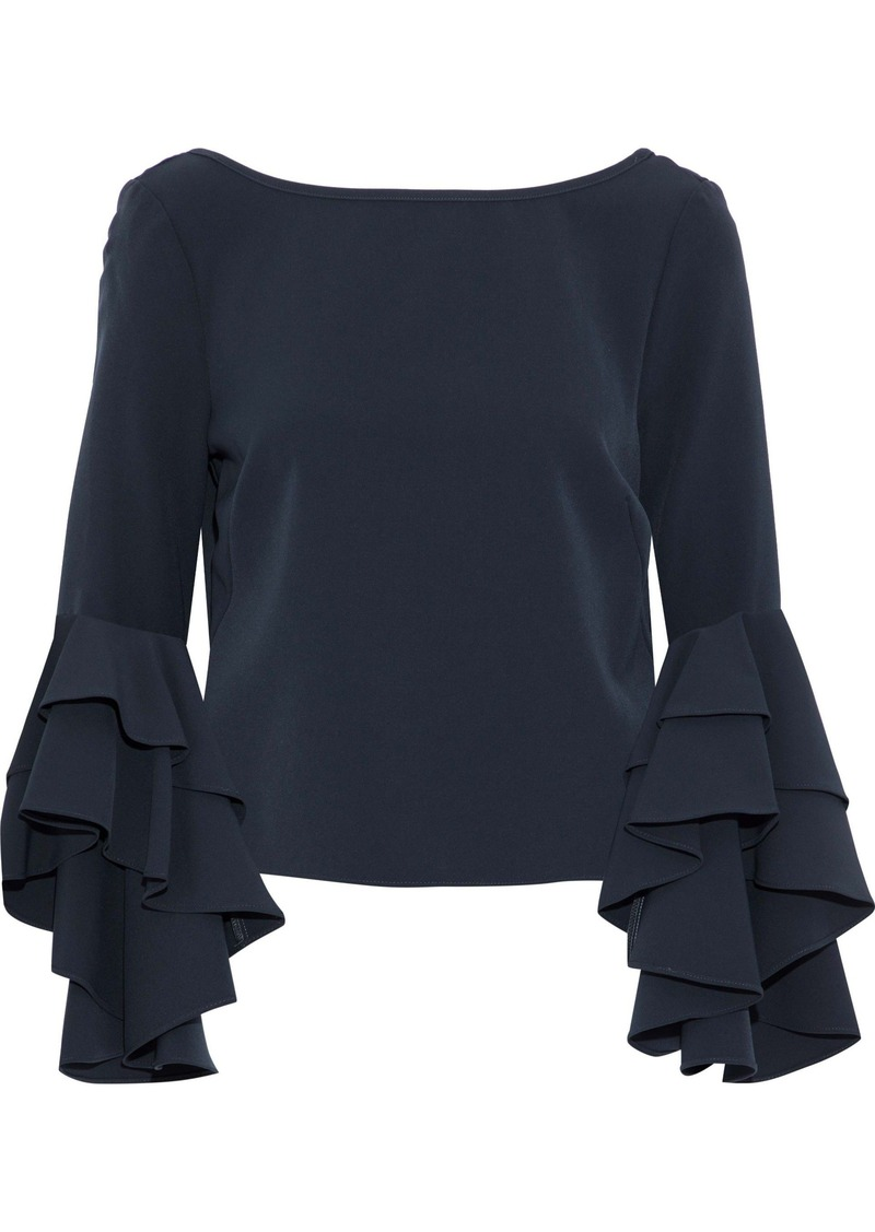 Milly Woman Annie Ruffled Crepe Blouse Midnight Blue