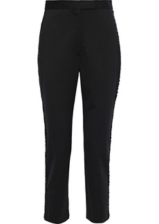 Milly Woman Appliquéd Wool-blend Slim-leg Pants Black