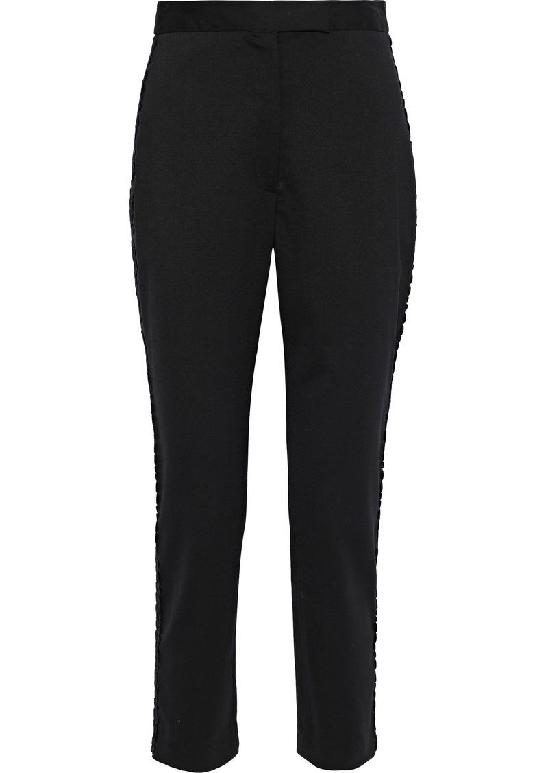 Milly Woman Appliquéd Wool-blend Slim-leg Pants Black