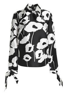 Milly Woman Aria Cutout Floral-print Faille Blouse Black