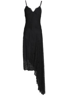 Milly Woman Asymmetric Draped Corded Lace Dress Black