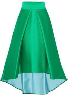 Milly Woman Flared Pleated Duchesse-satin Skirt Bright Green