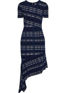 Milly Woman Asymmetric Jacquard-knit Dress Navy